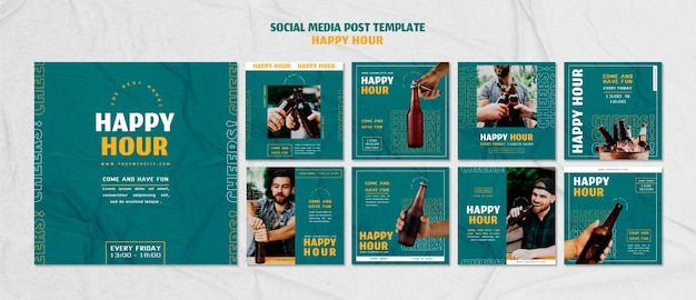 Coleção de postagens do instagram para happy hour Psd Premium
