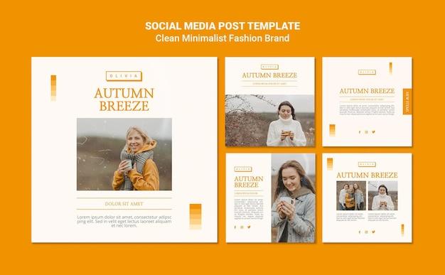 Coleção de postagens do instagram para marca de moda de outono minimalista Psd grátis