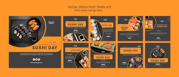Coleção de postagens do instagram para o dia internacional do sushi Psd grátis