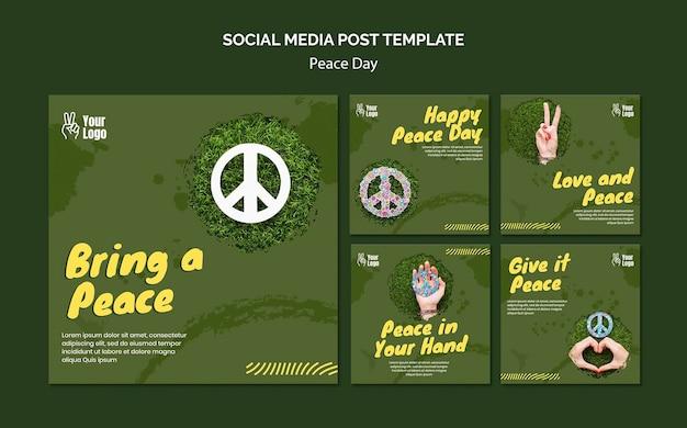 Coleção de postagens do instagram para o dia mundial da paz Psd grátis