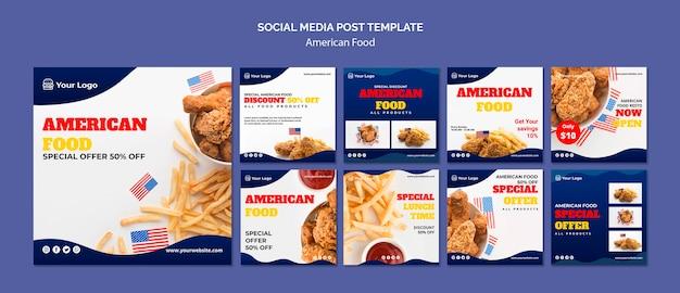 Coleção de postagens do instagram para restaurante de comida americana Psd grátis