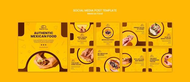 Coleção de postagens do instagram para restaurante de comida mexicana Psd grátis