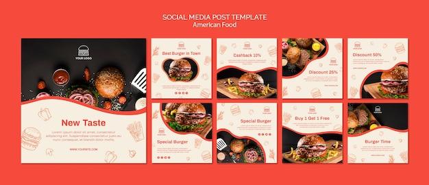 Coleção de postagens do instagram para restaurante de hambúrguer Psd grátis