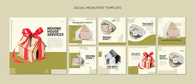 Coleção de postagens do instagram para serviços de mudança de casa Psd grátis