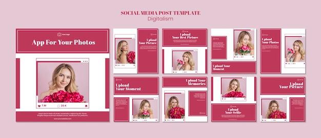 Coleção de postagens do instagram para upload de fotos nas redes sociais Psd grátis