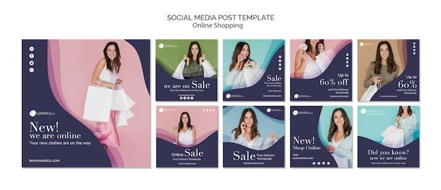 Coleção de postagens do instagram para venda de moda on-line Psd Premium