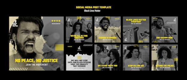 Coleção de postagens do instagram por discriminação racial Psd grátis