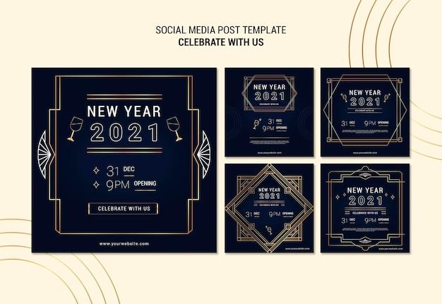 Coleção de postagens elegantes do instagram para a festa de ano novo Psd grátis