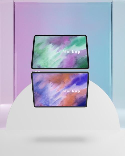 Coleção de tablets com suporte de vidro transparente Psd grátis