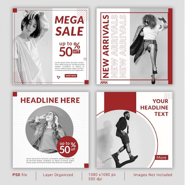Coleção mínima de modelo de banner de mídia social vermelha Psd Premium