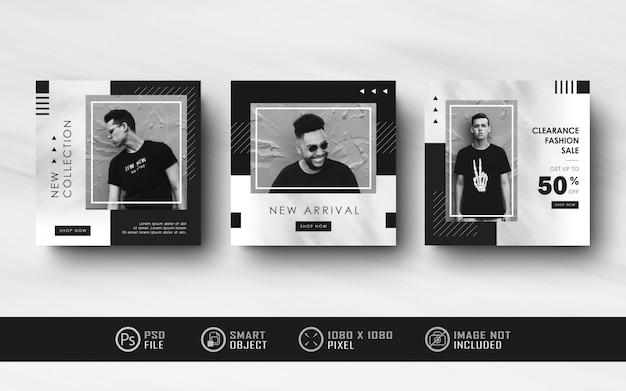 Coleção minimalista preto branco instagram social media post feed banner Psd Premium