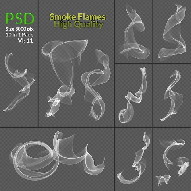 Coleção transparente de fumo isolado fundo transparente Psd Premium