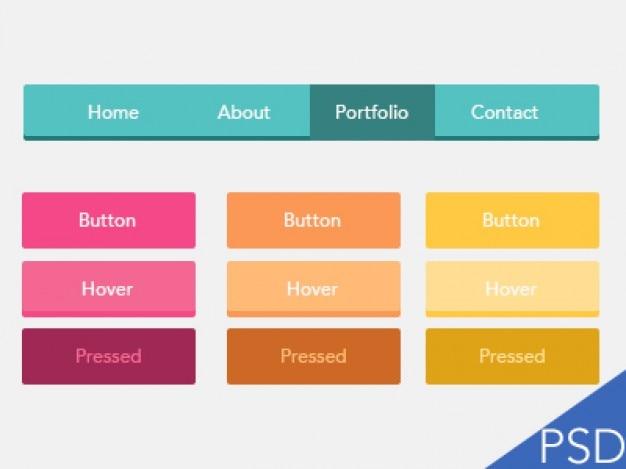 Coloridos botões ui plana psd Psd grátis