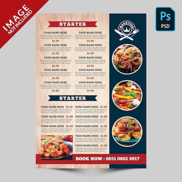 Comida e bebida reservar menu de comida Psd Premium