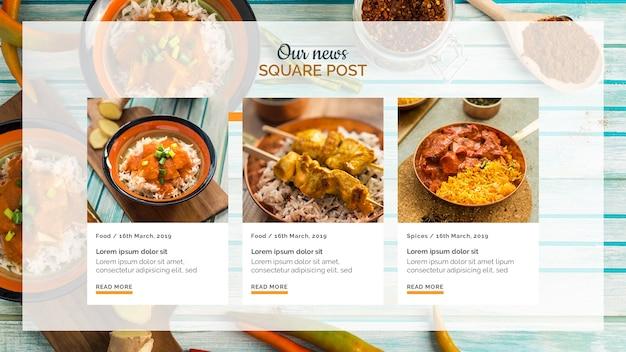 Comida indiana quadrado post modelo Psd grátis