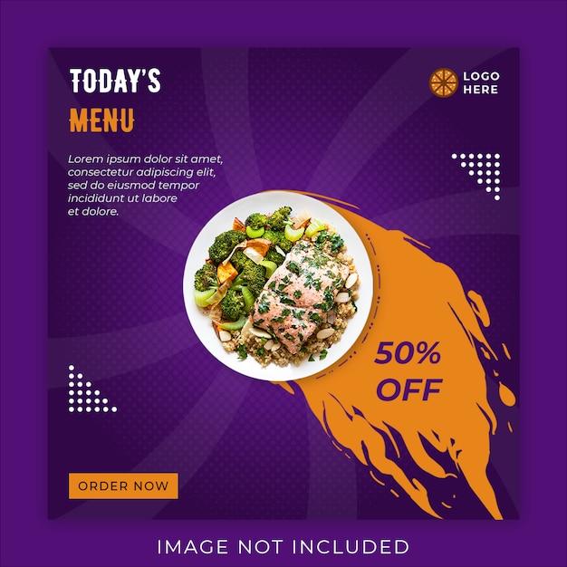 Comida menu promoção mídia social instagram post banner modelo Psd Premium