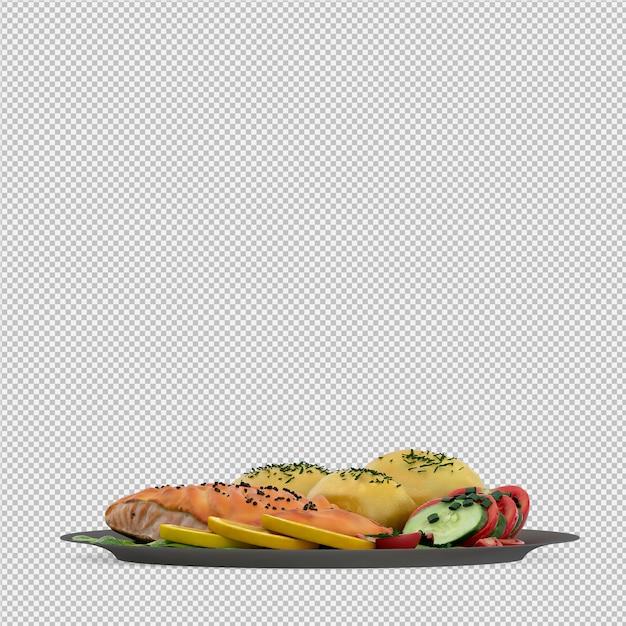 Comida na placa 3d render Psd Premium