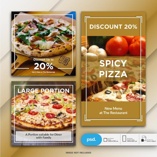 Comida negócio marketing instagram post e modelo de história ou banner quadrado Psd Premium