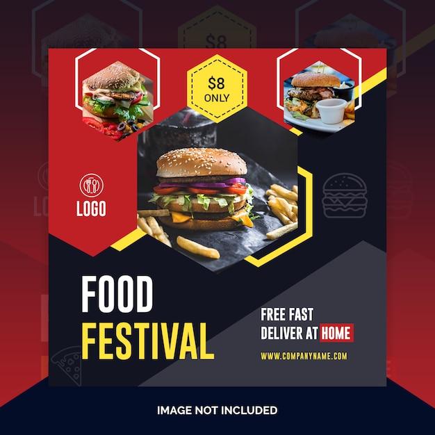 Comida restaurante instagram post, banner quadrado ou modelo de panfleto Psd Premium
