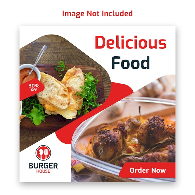 Comida social media post banner modelo para restaurante Psd Premium