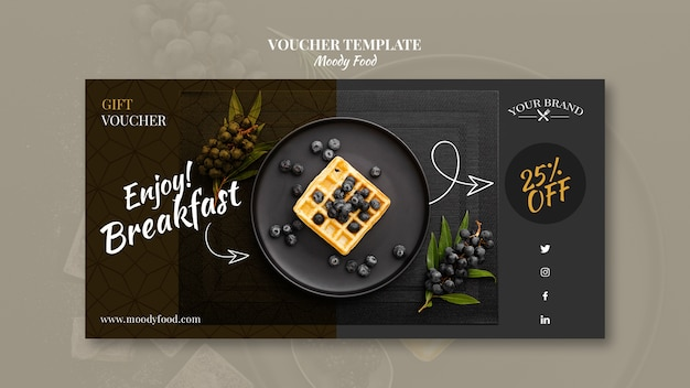 Comida temperamental restaurante comprovante modelo conceito mock-up Psd grátis