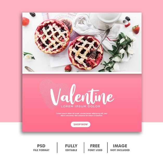 Comida valentine banner mídia social post instagram rosa Psd Premium