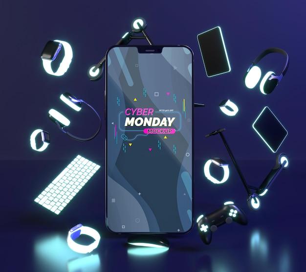 Composição de cyber monday com maquete de telefone Psd Premium