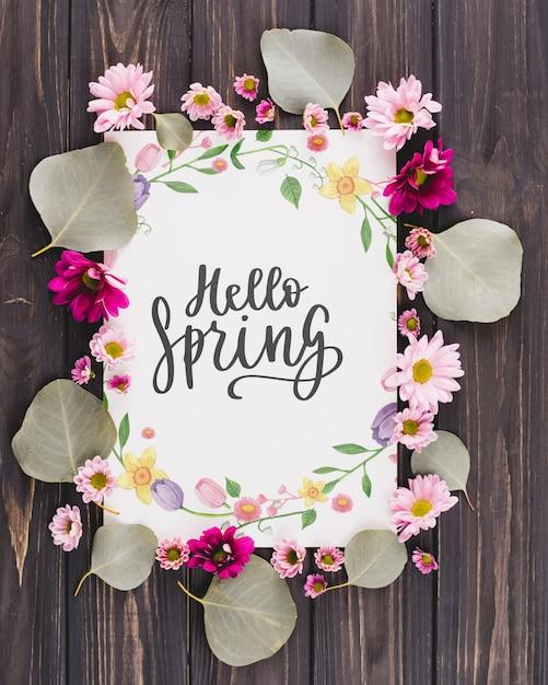 Composição de quadro floral para a primavera Psd grátis