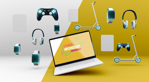 Composição de venda de cyber monday com novo modelo de laptop Psd grátis
