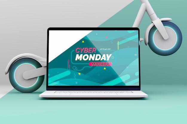 Composição de venda de cyber segunda-feira com maquete de laptop Psd grátis