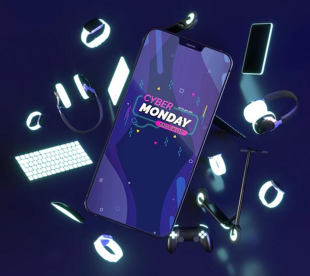 Composição de venda de cyber segunda-feira com maquete de telefone celular Psd grátis