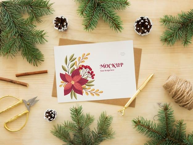 Composição de véspera de natal com cartão Psd grátis