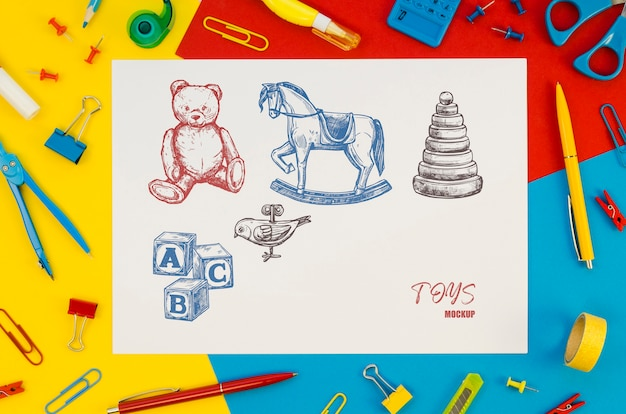 Composição de vista superior com maquete de cartão em fundo colorido Psd grátis