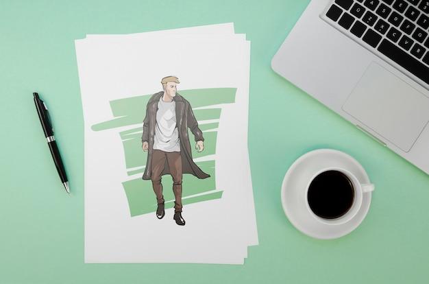 Composição plana leiga com maquete de cartão sobre fundo verde Psd grátis