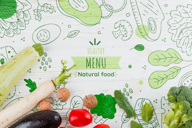 Composição plana leiga de legumes Psd grátis