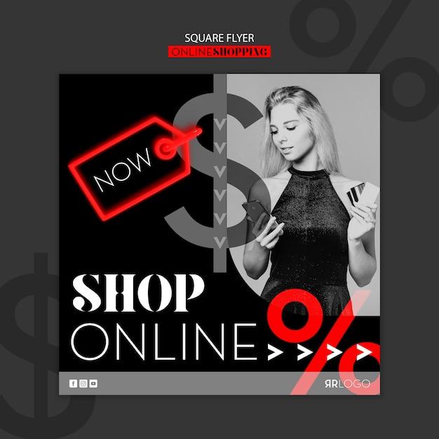 Compre agora online flyer quadrado de moda Psd grátis
