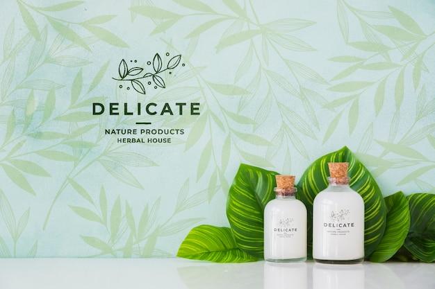 Conceito de banho close-up com produtos de higiene pessoal Psd Premium