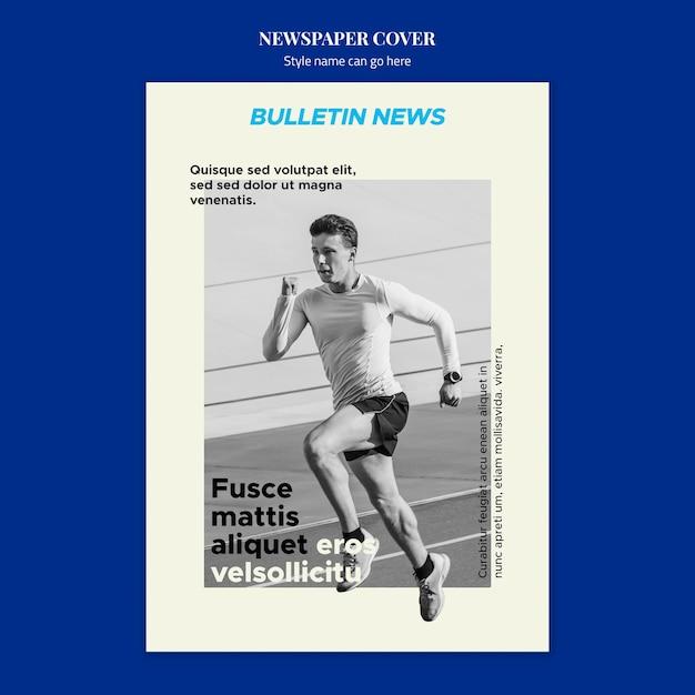 Conceito de capa de jornal de esporte Psd grátis