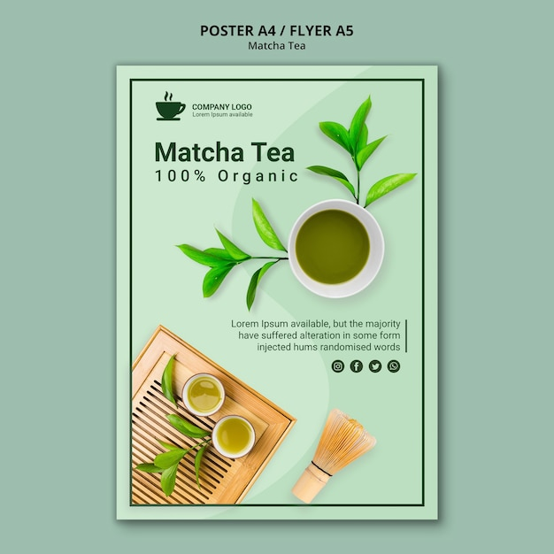 Conceito de chá matcha para cartaz Psd grátis