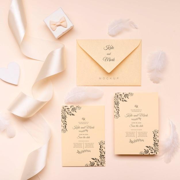 Conceito de convite de casamento elegante vista superior Psd grátis