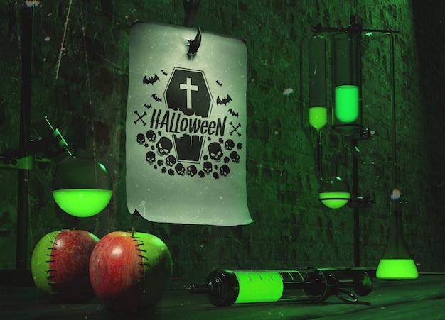 Conceito de halloween com luz de neon verde Psd grátis