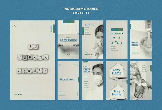 Conceito de histórias do instagram de coronavírus Psd grátis