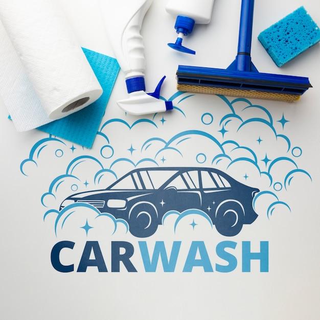 Conceito de lavagem de carro com ferramentas de limpeza Psd grátis