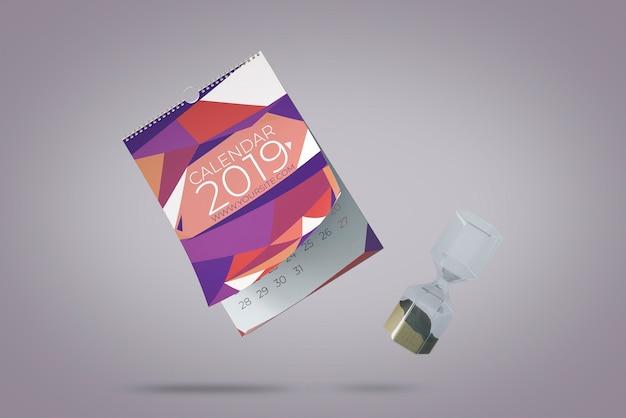 Conceito de maquete de calendário decorativo flutuante Psd grátis