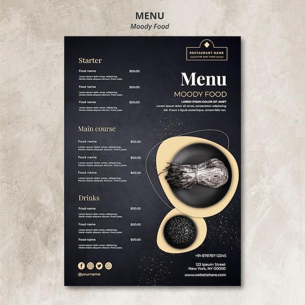Conceito de menu de restaurante de comida temperamental Psd grátis