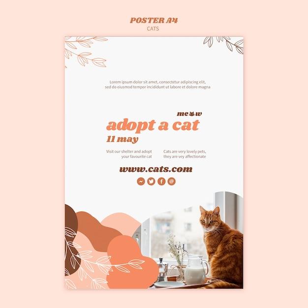 Conceito de modelo de cartaz de gatos Psd grátis
