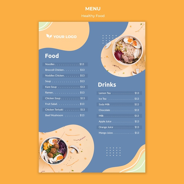 Conceito de modelo de menu de restaurante Psd grátis