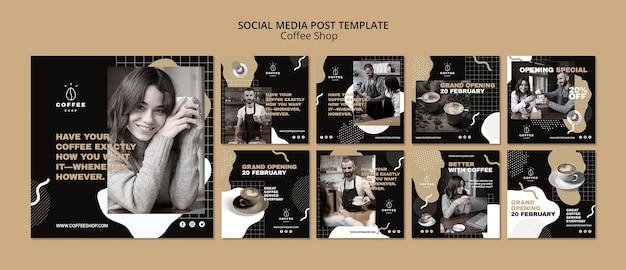 Conceito de modelo de mídia social para café Psd grátis