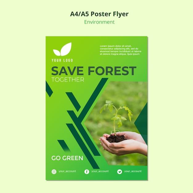 Conceito de modelo de panfleto de salvar a floresta Psd grátis