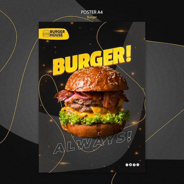 Conceito de modelo de pôster de hambúrguer Psd grátis